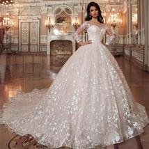 Princesse De Luxe  Shiny Beading Crystal Waist Luxury Lace Ball Gown Wedding Dre
