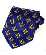 Mason Compass Mens Necktie Fraternal Order Square Masonic Gift Blue Neck... - $15.79