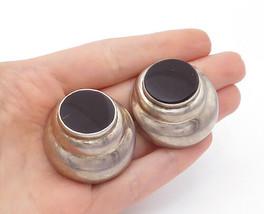 MEXICO 925 Silver - Vintage Black Onyx Round Non Pierce Clip On Earrings... - $93.59