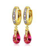 2.53 Carat 14K Gold Hoop Earrings Diamond Pink Topaz - $541.38