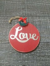 Wooden Christmas Tree Love Ornament Vintage Style. - $14.58