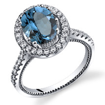 Women's Sterling Silver London Blue Topaz Oval Halo Ring with Milgrain F... - $99.99
