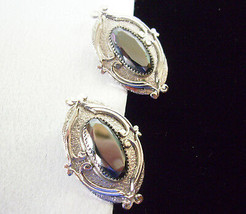 Whiting Davis OVAL HEMATITE Ornate Silver Plated Clip on Earrings Estate... - $12.82