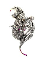 Vintage Avon by Kenneth Jay Lane KJL Marcasite Pearl Silver tone Brooch Pin - $26.00