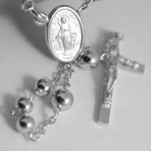 18K WHITE GOLD BIG ROSARY NECKLACE MIRACULOUS MARY MEDAL JESUS CROSS ITALY MADE image 4