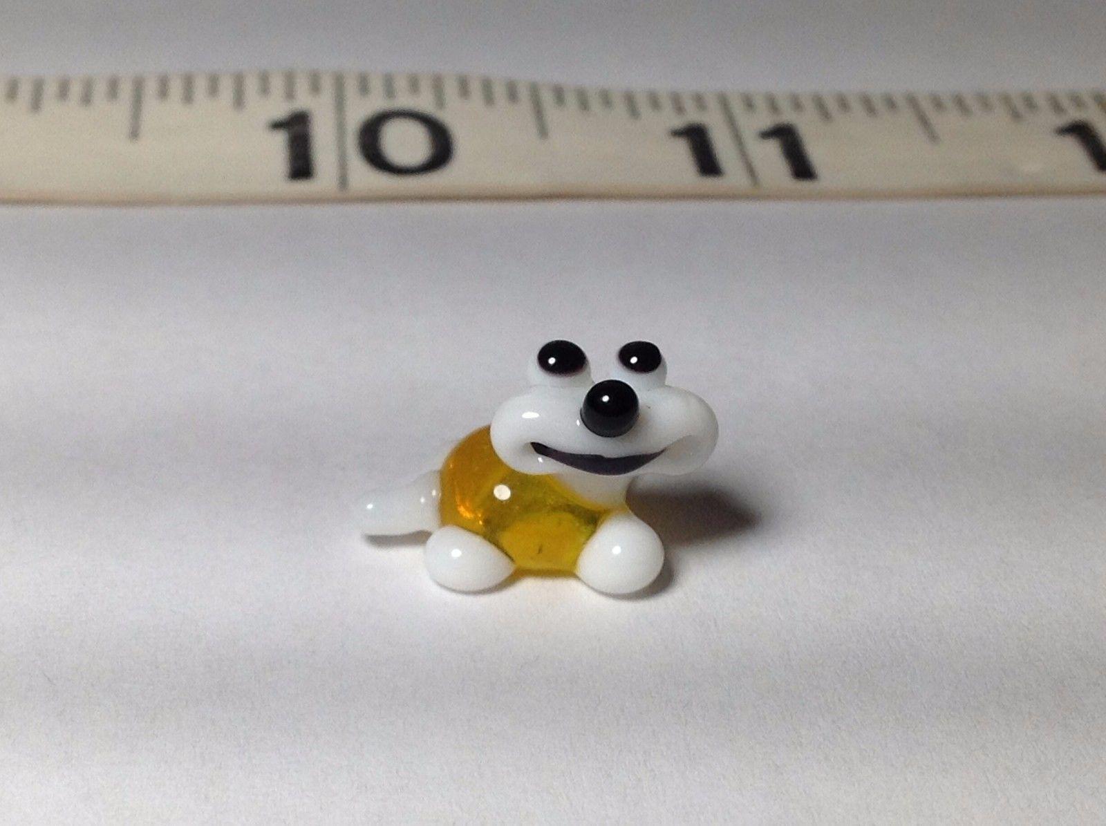 Miniature Glass white yellow  happy turtle Handmade Blown Glass Made USA