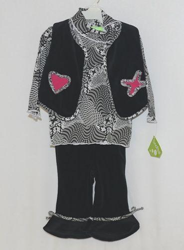 Snopea 3 Piece Outfit Vest Shirt Pants Black White Velour Size 9 Months