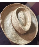 Vintage Unisex Straw Hat With woven Jute Hat Band Made In USA Label Size... - $4.94