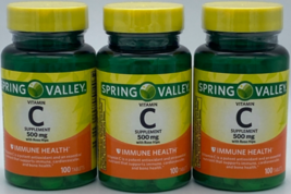 Lot of 3 Vitamin C 500 mg w/Rose Hips Spring Valley 100 ct each - 300 Total - $14.90
