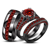 Red Garnet 10k Black Gold Finish 925 Silver His Her Trio Ring Set & Free Shipp - £111.14 GBP