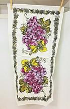 Vintage Linen Large Purple Grapes Printed Hand Towel w Original Price Tag  - $18.32