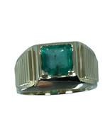14k Colombian Emerald Men's  Ring, White, Yellow, Rose Gold FREE SIZING - $859.00