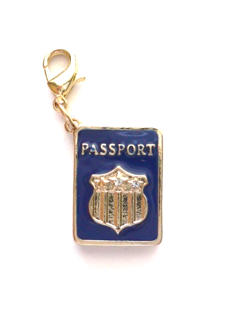 Primary image for Blue Enamel PASSPORT Clip On Charm Pendant Zipper Pull Keychain Charm BN