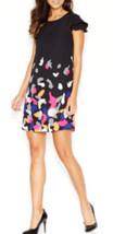 Kensie Dress Short Sleeve Back Zipper Printed Shift Black Combo Size S My Afc - $61.99