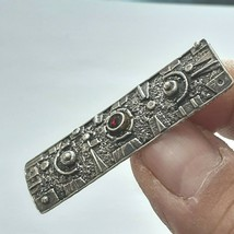 Vintage Fine Israeli/Sterling Silver 925/Jewelry Pin Brooch & Red Bead Old 8.6g - $143.55