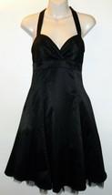 Forever 21 Satin Halter Sweetheart Little Black Dress Cocktail Netting S... - $14.25