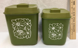 Canister Set Avocado Green Kitchen Plastic 2 Pieces Flower Power Retro - $8.90