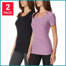 32 Degrees Women's 2Pk Short Sleeve Scoop Neck T-Shirt Orchid/Black Size: Small