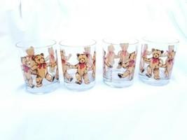 Vintage MCM Georges Briard  Teddy Bear Lowball Glasses barware Set of 4  - $64.35