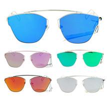 SA106 Womens Bridgeless Metal Horn Rim Color Mirror Sunglasses - $12.95