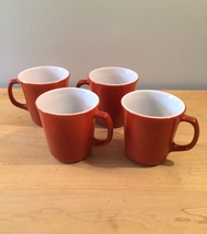 Vintage 60s set of 4 Corelle by Pyrex Burnt Orange mugs (discontinued and rare)