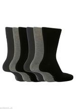 6 Pairs Mens Gentle Grip Socks Size 6-11 Uk, 39-45 Eur MGG101 Plain B/N/G - $10.99