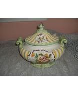Vintage Capodimonte 3 Pc China Ornate Green Yellow Soup Tureen Italy NICE - $173.25