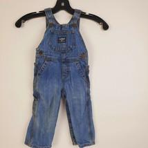 OshKosh Bgosh Toddler Boys 12M Blue Denim Jean Overalls Snap Button Vestbak - $44.36