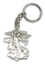 Pewter Antique Silver St. Michael the Archangel Keychain 2 x 1 3/4 inch - $18.00