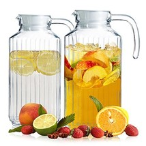 Set of 2 Glass Pitchers with Lid and Spout, 1.8 Liters Ribbed Design Fri... - $30.82