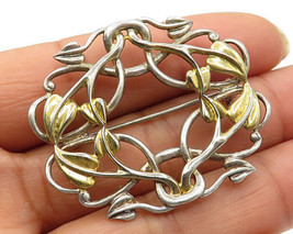 925 Sterling Silver - Vintage Two Tone Bow Wreath Detail Brooch Pin - BP... - $45.22