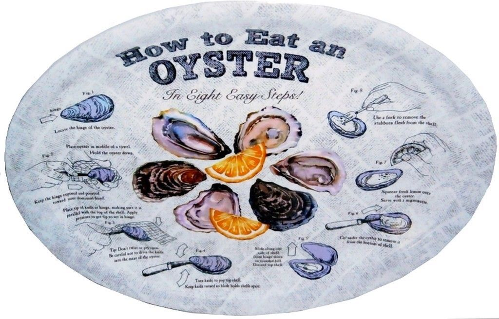 How To Eat a Oyster Serving Oval Plates Platters Set of 4 New Reusable