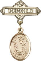 14K Gold Filled Baby Badge with St. Cecilia Charm Pin 1 X 5/8 inch - $92.61