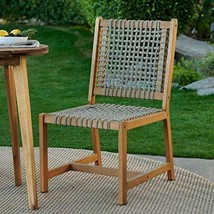 Urban Rustic Wood & Rope Outdoor Patio Chair with Seat Cushion - $202.45