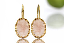 Pink quartz earrings,gold dangle earrings,bridal earrings,rose quartz ea... - $59.00+