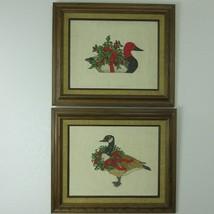 2 Vintage Geese Ducks Needlepoint Holly Wreath Christmas Holiday Finishe... - $128.65