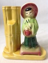 Vintage Shawnee Oriental Girl Boy Bamboo Vase Figural Japanese Chinese U... - $17.77