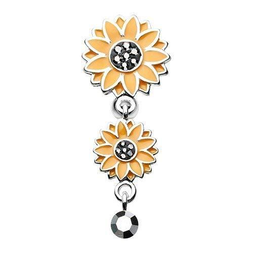 Primary image for Beach Sunflower Reverse 316L Surgical Steel Belly Button Ring (Hematite)