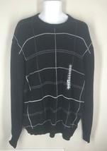 NEW Oscar de la Renta Black Crewneck Sweater Drop Needle Checkered XXL 2XL $65 - $19.50