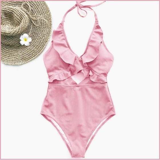 Ruffled Neck Halter Backless Padded Bra High Cut Pink Color Monokini Swimsuit