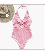 Ruffled Neck Halter Backless Padded Bra High Cut Pink Color Monokini Swi... - $36.95