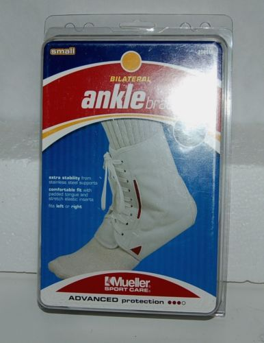 Mueller Sport Care 208SM Small Bilateral Ankle Brace White Laces Left Right