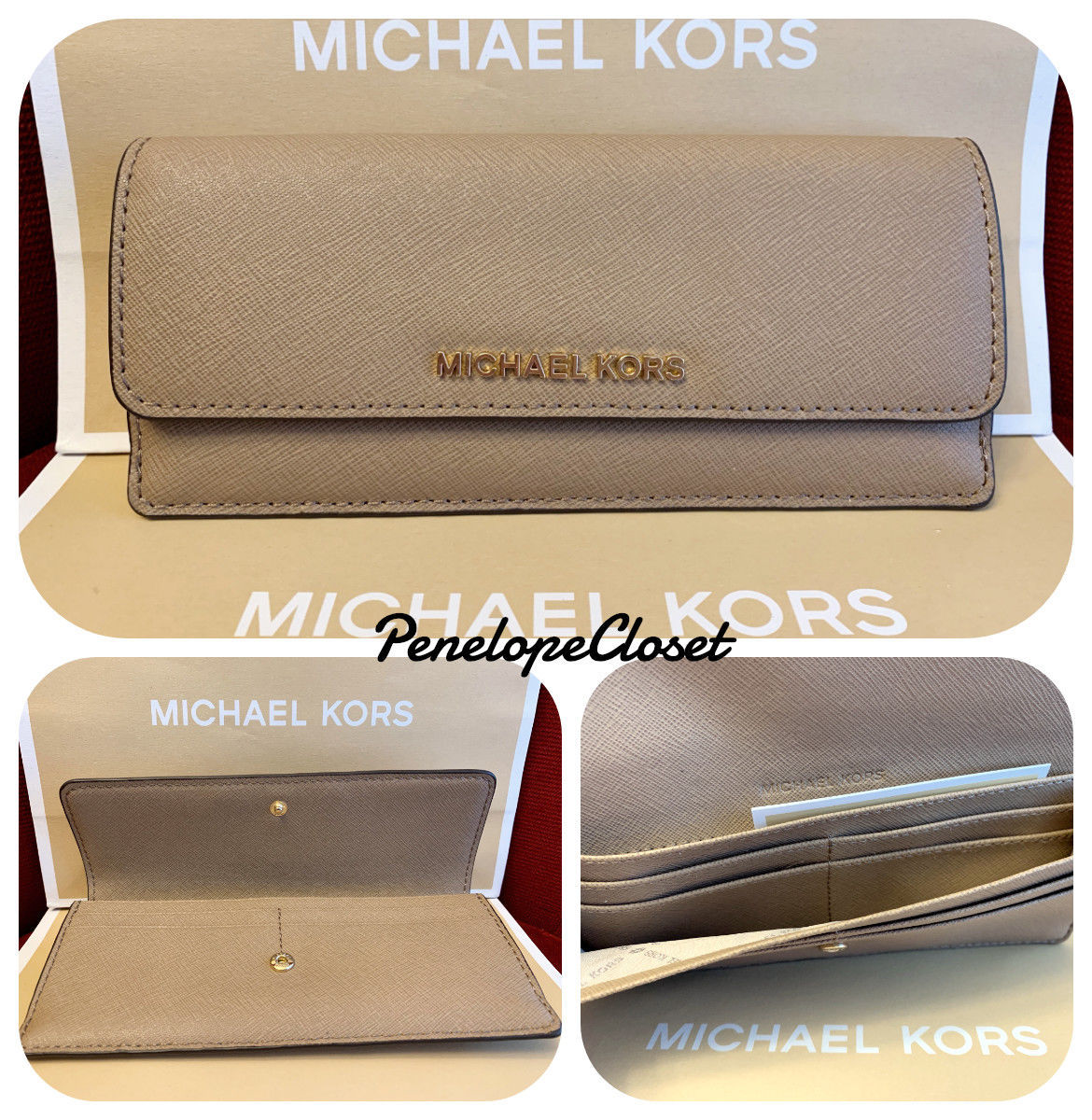 07e73311dfc5 57. 57. Previous. NWT MICHAEL KORS JET SET TRAVEL SAFFIANO LEATHER FLAT  WALLET IN DARK KHAKI. NWT MICHAEL KORS ...