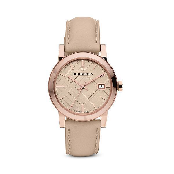 Authentic Burberry Watch BU9014 City Check Stamped Round Dial Nude Leather