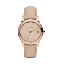 Authentic Burberry Watch BU9014 City Check Stamped Round Dial Nude Leather - $199.00