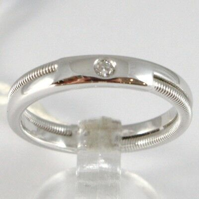 White Gold Ring 750 18K Engagement Wedding Band Diamond CT 0.03, Dual Threaded