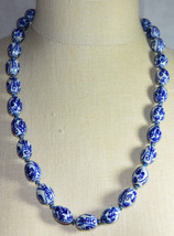 VTG Asian Hand Knotted Blue Hand Painted Porcelain Writing Bead Necklace C - $123.75