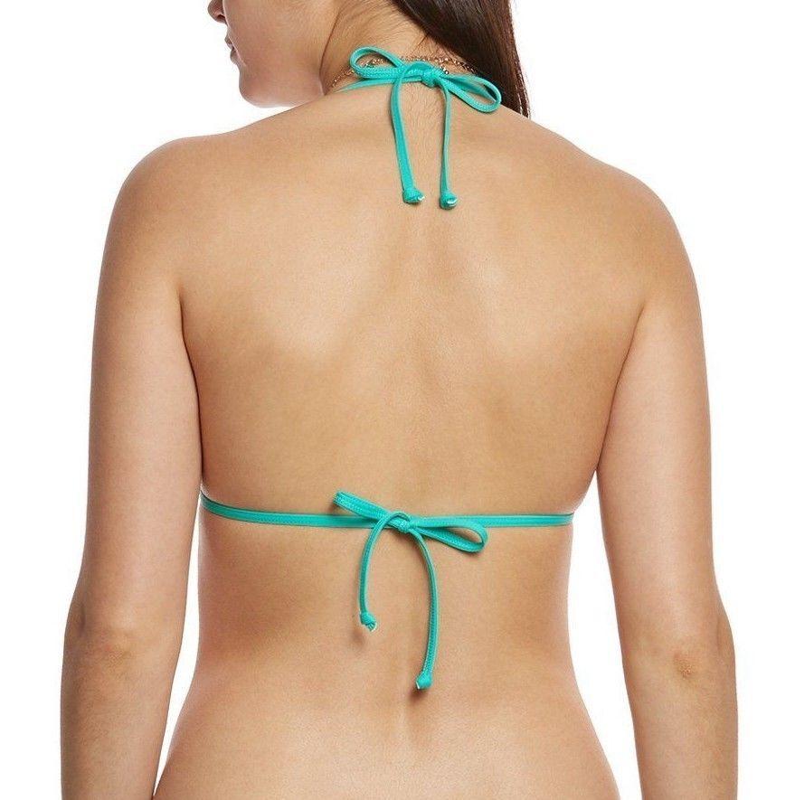 Eidon Women Solid Kali Slider Triangle Bikini Top Size L Teal