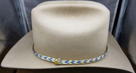 HATBAND WHITE, TURQUOISE and Gold with GOLD BORDER Edges Western Cowboy ... - €4,60 EUR
