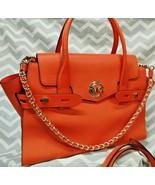 Michael Kors CARMEN Flap Belted Leather Satchel Handbag Bag Purse MIMOSA... - $197.99